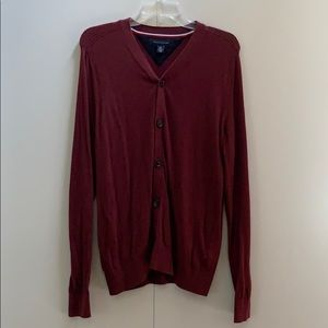Men's button down designer sweater.